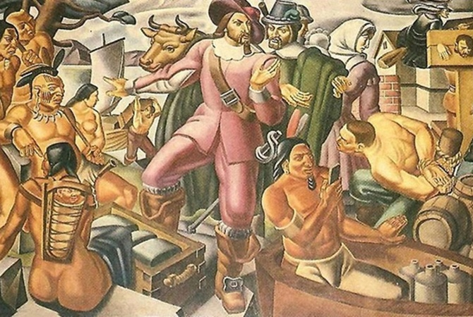 Накартине итальянского абстракциониста от1937 года неожиданно отыскали индейца сiPhone