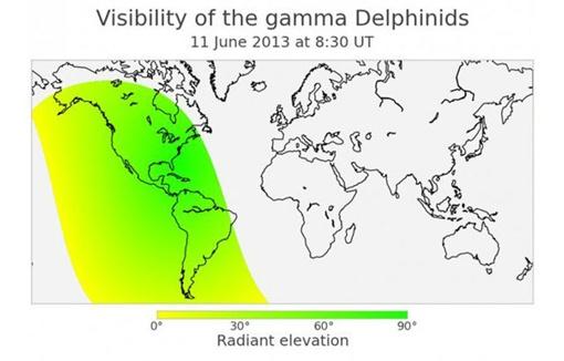 Метеоры можно будет увидеть над Америкой. иллюстрация Geert Barentsen, International Meteor Organization.