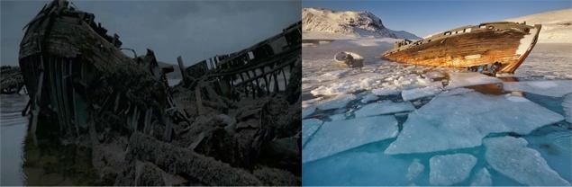 Полусгнившие баркасы нагнетают атмосферу в фильме (фото слева). Но многие туристы именно ради них и едут в Териберку.