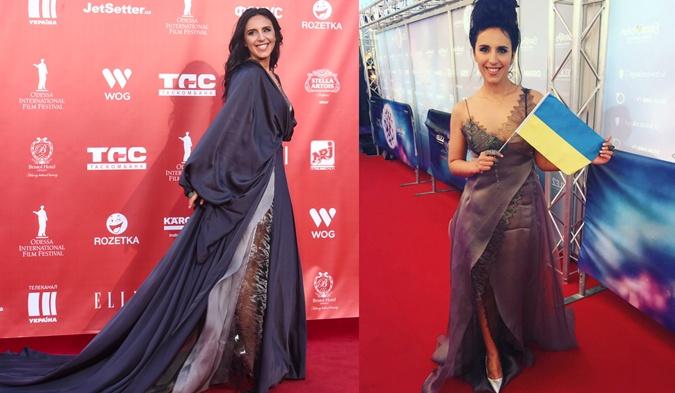 Под платье с длинным шлейфом Джа надела