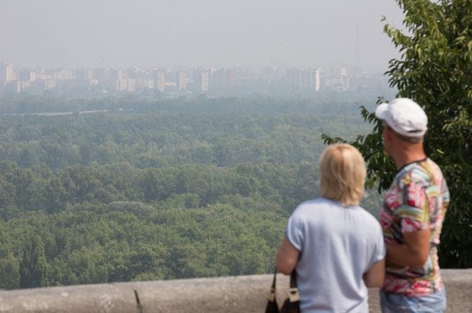 С утра 28 июля Киев снова накрыло жутким смогом.