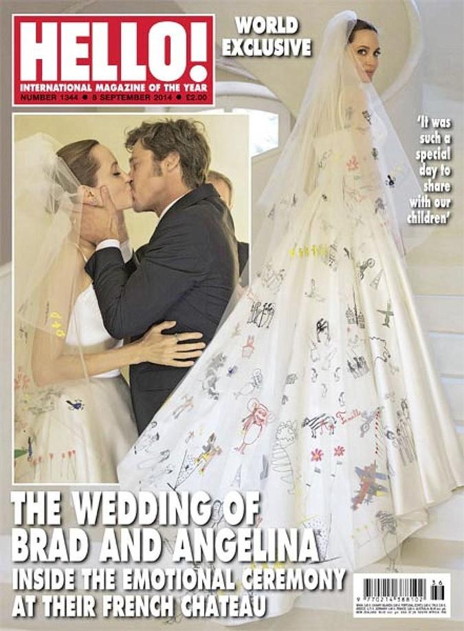 Свадьба Брэда и Анджелины была красивой и очень трогательной: невеста пошла к алтарю в платье, расшитом рисунками их детей.