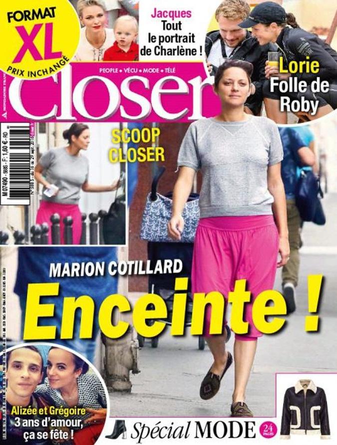 Об интересном положении Котийяр сообщил французский журнал Closer: издание поместило снимок беременной актрисы на обложку.