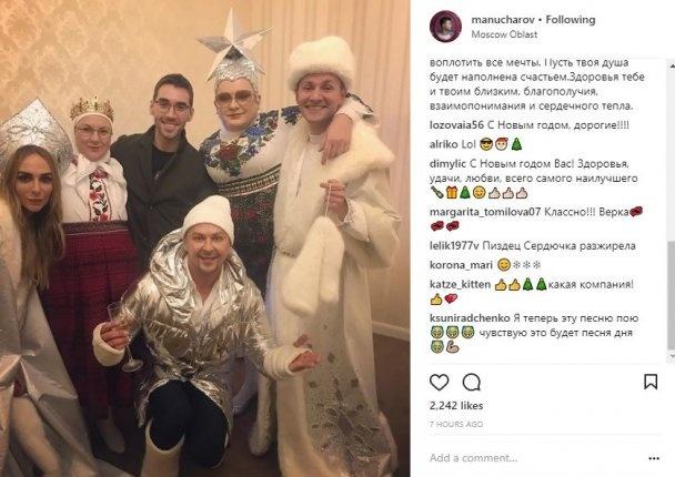 Манучаров (справа) опубликовал фото, из которого стало ясно, что Андрей Данилко в образе Сердючки вместе с