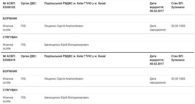Вот такая запись сделана в Едином реестре должников на сайте Минюста.
