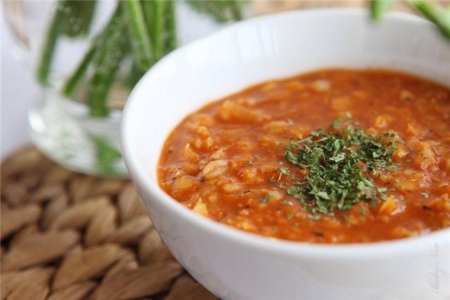 Рецепт постного супа с булгуром.