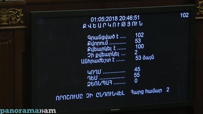 Кандидатуру Никола Пашиняна поддержали 45 депутатов,