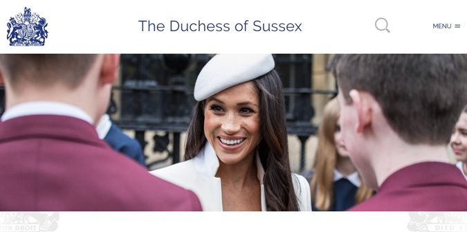 Страница Меган на сайте королевской семьи. Фото: скриншот