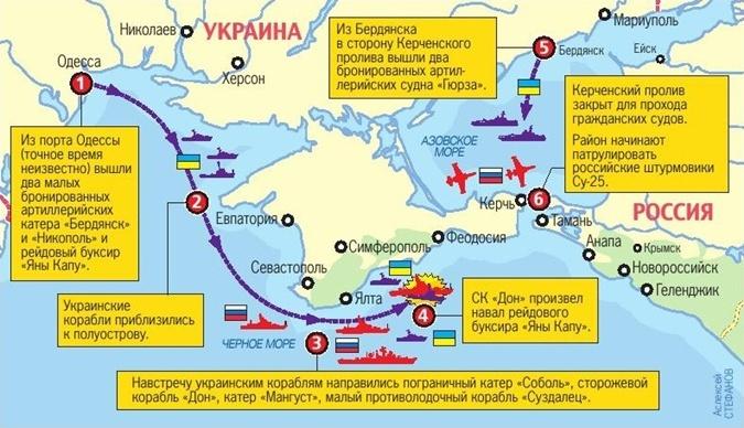 Конфликт в азовском море: карта