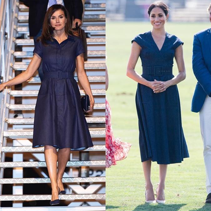 Меган Маркл и Королева Летиция вышли в свет в похожих платьях.