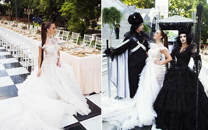 Продюсер Эльвира Гаврилова в образе Белой Королевы из Алисы в стране чудес