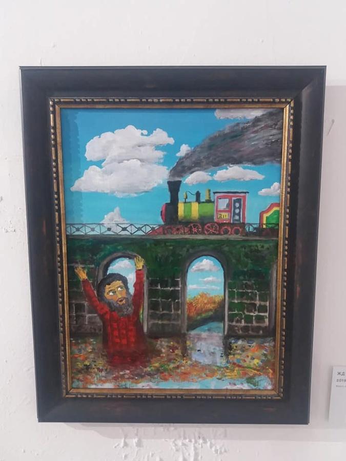 Картина, которую Борис Гребенщиков решил довести до совершенства прямо во время выставки.