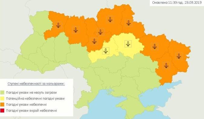 Карта заморозков на территории Украины 24 сентября.