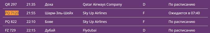 Скриншот табло аэропорта