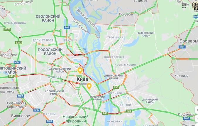 С утра в Киеве начались пробки. Фото: Гугл Карты