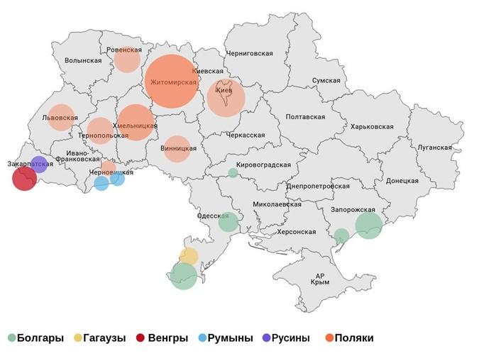 Карта компактного проживания национальных меншин в Украине. Подробнее – см. в тексте Графика: