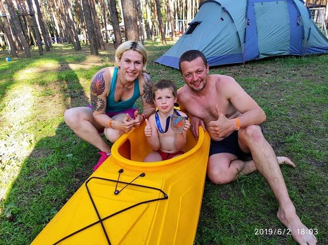 С сыном Борисом и мужем Дмитрием.