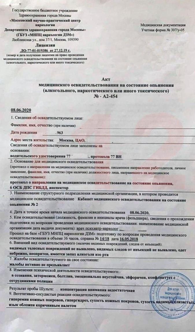 Акт медицинского освидетельствования Михаила Ефремова.