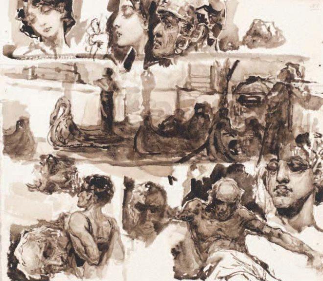 Лист из коллекции эскизов и зарисовок В. Котарбинского 1887–1900 гг. Б., сепия. 26 × 46 см. Продано на аукционе Bonhams 27 ноября 2013 г.