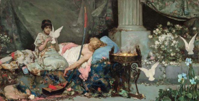 Фаворитка гарема со своей служанкой. 1880‑е гг. Х., м. 55,2 × 110,5 см. Продано на аукционе MutualArt 30 апреля 2019 г.