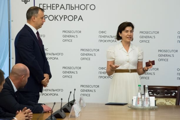 Венедиктова во время представления своего Говды. Фото: gp.gov.ua
