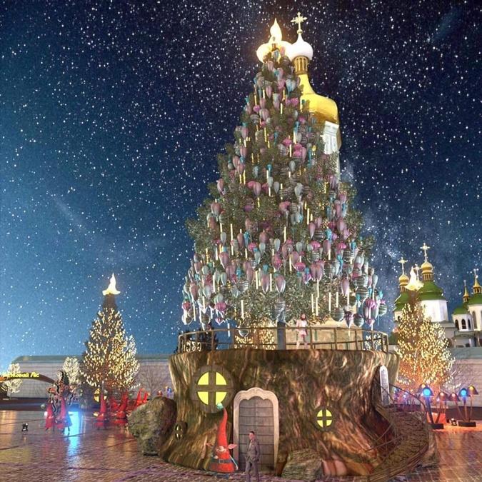 В декабре 2020-го на Софиевской площади елку хотят установить на волшебном пеньке.