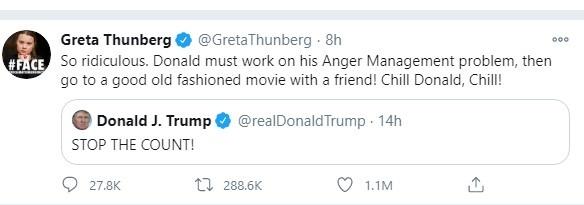 Грета Тунберг подколола Трампа его же словами