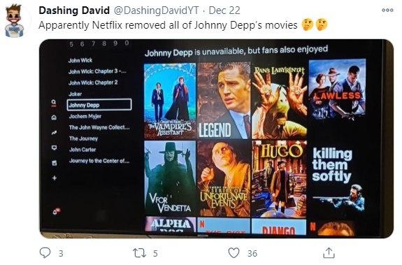 Фанаты Джонни Деппа заявили, что Netflix удалил все фильмы с актером фото 2