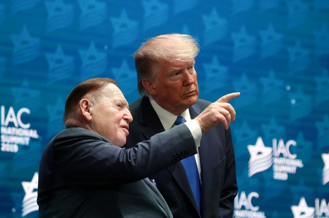 Дональд Трамп и Шелдон Адельсон перед выступлением президента США на Национальном саммите Израильско-американского совета в Голливуде. Флорида, США, 7 декабря 2019 г.