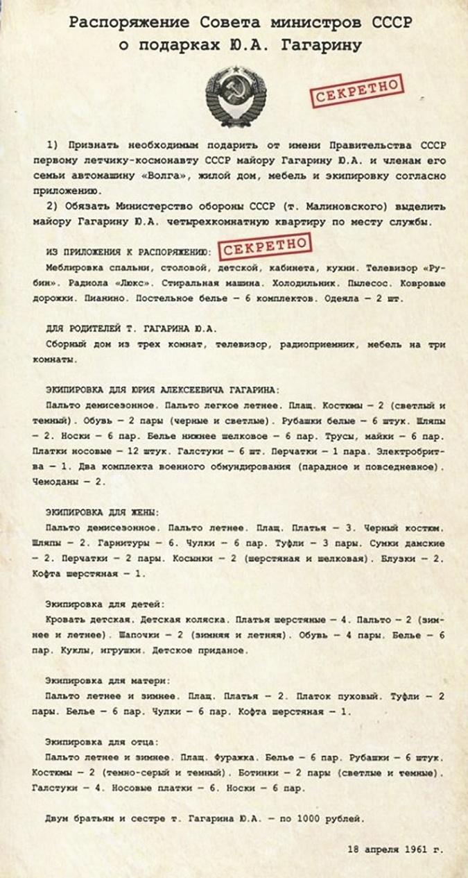 Подарки Юрию Гагарину