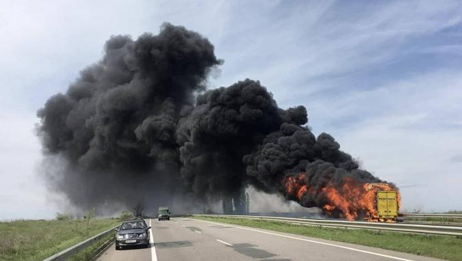 Сгорел автобус одесса-киев