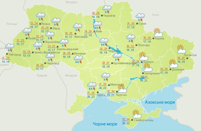 Прогноз погоды в Украине 6 августа