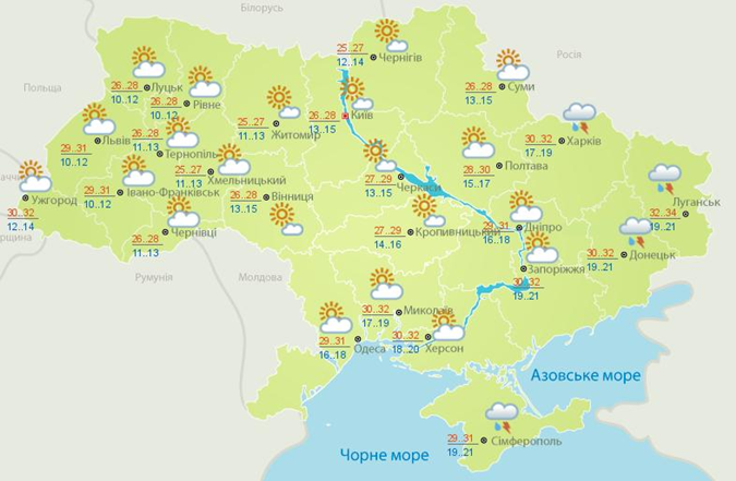 Прогноз погоды в Украине на 8 августа.