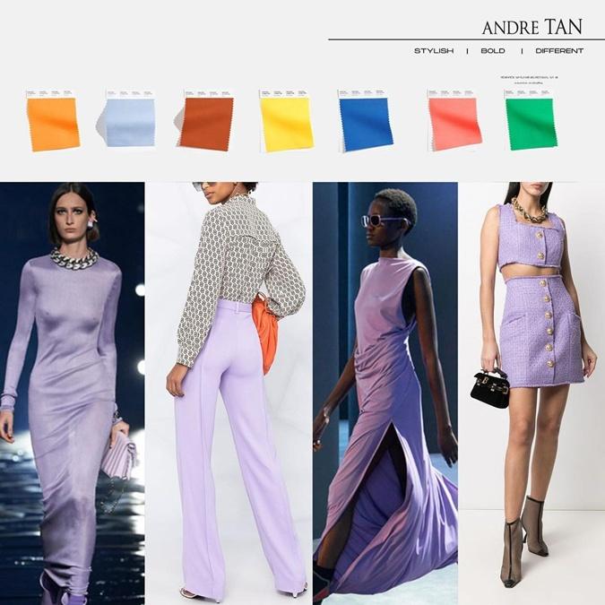 Лавандовый цвет легко комбинируется и будет хитом сезона, андре тан, мода осень-зима 2021-2022