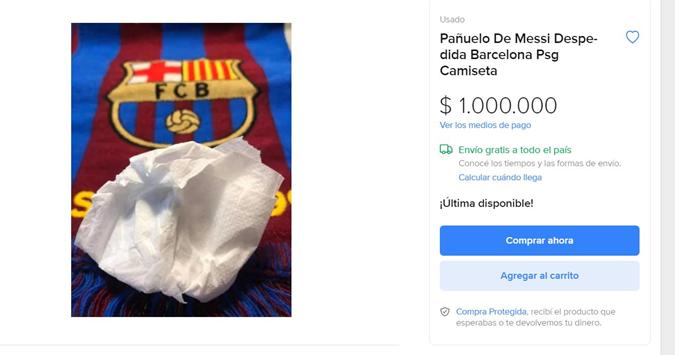 """Платок, которым Месси утирал слезы, уходя из """"Барсы"""", продается за миллион евро [фото]"""