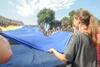 В Одессе над Потемкинской лестницей растянули 25-метровый флаг