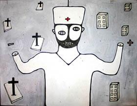 Харьковский врач рисует картины зеленкой и йодом