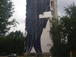 В Киеве огромный мурал  Стриж  на многоэтажке испортили блоками утеплителя