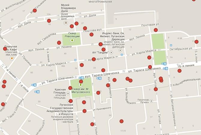 Карта попаданий луганс