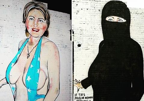 Уличный художник сделал из сексуальной Хиллари Клинтон мусульманку