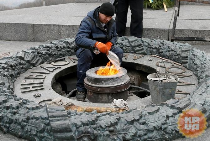 ВКиеве ветераны АТО выставят караул около бессрочного огня