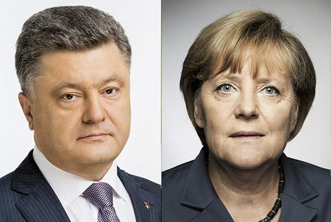 Порошенко иМеркель обсудили ситуацию наДонбассе