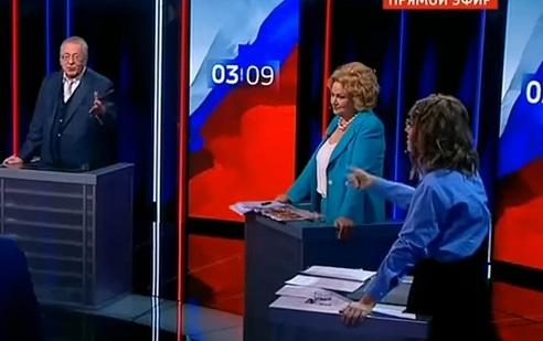 Жириновский иСобчак вновь устроили перепалку впроцессе дебатов, обсуждая культурную политику